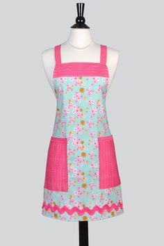 Womens Cross Back Apron - Vintage Aqua and Pink Petite Floral Adjustable Crossover Kitchen Apron with Pockets to Personalize or Monogram by TastyAprons on Etsy