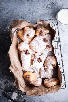 These beignets are pillowy, slightly sweet, and chewy just like those donuts in the French Quarter only stuffed with nutella. Enjoy with powdered sugar and a cup of coffee for the perfect breakfast or late night treat. Waffle Recipes, Fruit Recipes, Brunch Recipes, Smoothie Recipes, Breakfast Recipes, Dessert Recipes, Desserts, French Donuts, Bagel Recipe