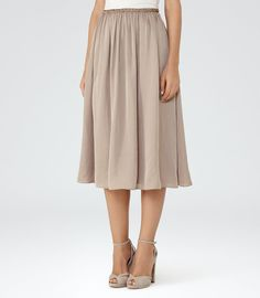 REISS Alissa - Gathered Midi Skirt in Red, Womens. Great price in all the sizes #blushfabric #softpleats #ad
