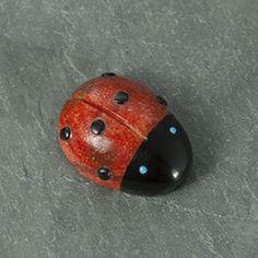 Ladybug Spirit Zuni Fetish Carving in Apple Coral