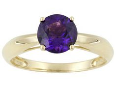 1.20ct Round Uruguayan Amethyst 14k Yellow Gold Solitaire Ring Web Only