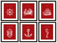 decorate the boat: 6 Nautical Art Prints, ANY color  (Anchor, Seahorse, Scuba Helmet, Crab, Wheel and Ship). $25.00, via Etsy.
