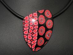 Statement Ketten - Rot + Schwarz Kette, Kunst aus Polymer clay - ein Designerstück von filigran-Design bei DaWanda