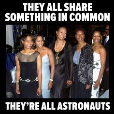 """teafortwo29: profeminist:  ACTUALLY, FOUR ASTRONAUTS AND A FIGHTER PILOT!   """"From left to right; astronauts Stephanie Wilson, Joan Higginbotham, Mae Jemison, Yvonne Cagle and fighter pilot Shawna Kimbrell""""    Source Learn more about these great women: 1.   Stephanie Wilson 2. Joan Higginbotham 3. Mae Jemison 4. Yvonne Cagle 5. Shawna Kimbrell"""