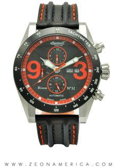 Strong, bold & durable are a few choice words to describe our Ingersoll Watches USA Bison No. Caliber: 520 Jewels: 20 Dial: Orange & black combination, multiple sub-dials Modern Watches, Cool Watches, Watches For Men, Watches Usa, Ingersoll Watches, Popular Mens Fashion, Bison, Watches Online, Chronograph