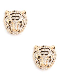Glam Tiger Studs: feature a pretty fabulous tiger motif, with its two-tone pattern crafted from onyx and ice-white crystals.