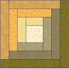 """12.5"""" Log Cabin Block for Quilting Bee"""