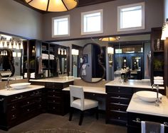 Makeup Table Design, Pictures, Remodel, Decor and Ideas - page 20...  The mirror hung over the other mirror is awesome!