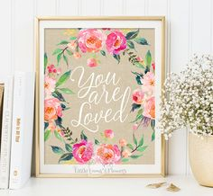 Nursery decor You are loved print baby by LittleEmmasFlowers