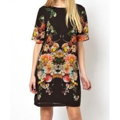 Chic Style Round Collar Floral Print Short Sleeves Chiffon Women's Dress