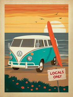Locals Only: VW Surf Van - The Coastal Collection is breezy, casual, whimsical and nostalgic. Inspired by vintage nautical travel posters, we've set out to create a collection of brand new designs that will make you as happy as if you were sitting on the coast. Printed on gallery-grade matte-finished paper, this print is sure to add a breezy, nostalgic charm to any home or office wall.