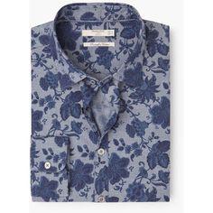 MANGO MAN MANGO MAN Slim-Fit Floral Print Shirt (€54) ❤ liked on Polyvore featuring men's fashion, men's clothing, men's shirts, men's casual shirts and navy