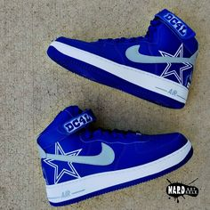 Brand new pair of Legend Blue Jordans customized into a Dallas Cowboys edition with hand painted Jumpman logo of Zeke You may also send in your. Dallas Cowboys Gifts, Dallas Cowboys Outfits, Dallas Cowboys Football, Pittsburgh Steelers, Cowboy Shoes, Cowboy Gear, Cowboy Outfits, Best Sneakers, Sneakers Fashion