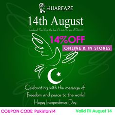 History this is a banner for pakistan independence day pakistan junoon ishq o azadi sale 7th august 14th august avail 14 off on the whole store of hijabeaze coupon code for website fandeluxe Choice Image