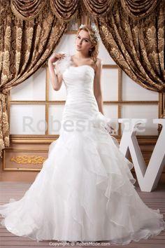 Robe de mariée A-ligne une épaule ornée de plumes et de fleurs en satin et organza à traîne balai -Robe de Mariée-Les nouveautés