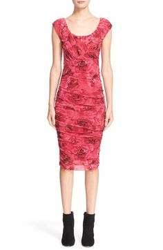 Fuzzi Rose Print Ruched Tulle Dress available at #Nordstrom