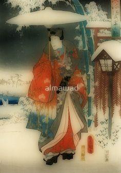 Winter scene -  Japanese man with umbrella