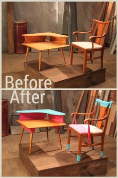 This mid-century chair and side table were transformed into a funky, neon set.