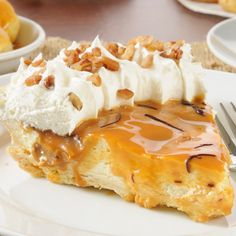 A Yummy cream pie recipe, served topped with caramel sauce and whipped cream.. Cream Pie With Caramel Recipe from Grandmothers Kitchen.