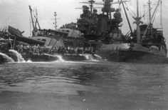 Pennsylvania after being hit by torpedo plane August 12th 1945