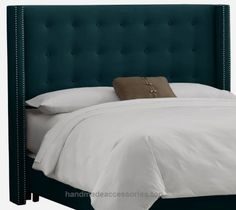 Skyline Furniture Nail Button Tufted Wingback Queen Headboard in Velvet Peacock  Check It Out Now     $421.77    This Wingback headboard sets a modern feel with its unique design. It's upholstered in lush velvet and embellished w ..  http://www.handmadeaccessories.top/2017/03/28/skyline-furniture-nail-button-tufted-wingback-queen-headboard-in-velvet-peacock/