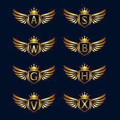 Alfabeto com asas e escudo logotipo cole. Logo D'art, Typography Logo, Art Logo, Dog Logo Design, Badge Design, Custom Logo Design, Corona Logo, Paper Background Design, Design Plano
