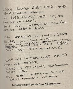 Original lyrics for Love Will Tear Us Apart by Joy Division