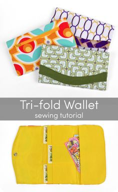 Free tutorial: a simple and classic wallet with loads of card pockets, a slot for bills, and a zippered pocket in back for coins #diy #sewing