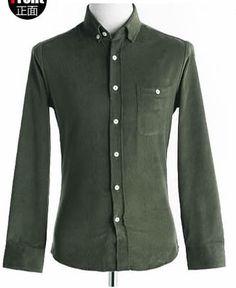 Hot Sale Fashion Comfortable Candy Color Men Army Green Slim Blends Dress T-Shirt M/L/XL @SJ24920ag
