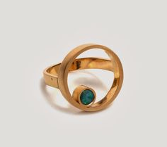 'Gold Double Circle Ring' 18ct yellow gold, opal by Melanie Katsalidis for UPALA via Pieces of Eight Gallery.