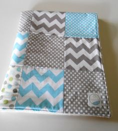 Minky Baby Boy Patchwork Quilt Blanket Riley Blake Chevrons and Dots Michael Miller Lotsadots Aqua Gray--Made to Order on Etsy, $55.00