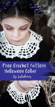 Halloween Web Collar - Free Crochet Pattern from Lulu Loves. Crochet Fall, Holiday Crochet, Love Crochet, Diy Crochet, Vintage Crochet, Crochet Crafts, Crochet Projects, Double Crochet, Knitting Projects