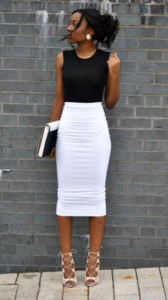 51 Cute Pencil Skirt Outfits for Work [Summer Edition] - white pencil skirt with black sleeveless top - classy #MyCuteOutfits