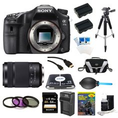 Sony A77II ILC-A77M2 A77M2 a77 II Digital SLR Camera - Body Only Bundle Includes camera, 64GB SDXC Memory Card, 2 NP-FM500 Camera Batteries, Rapid ACDC Charger, Compact Bag, 57-in-1 Memory Card Reader, Photography DVD, micro-HDMI Cable, and More