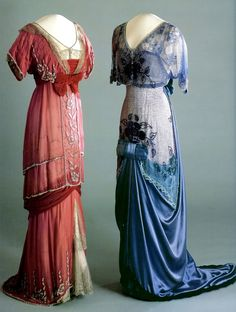 Two gowns, 1910-1913.