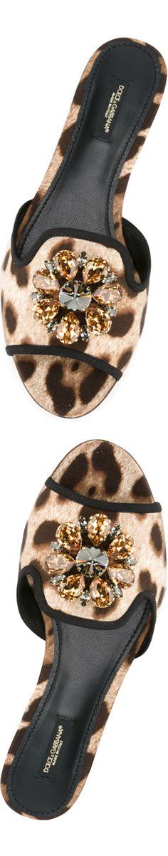DOLCE & GABBANA Leopard Flat Embellished Sandal