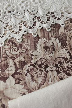 Lovely French antique toile, linen and lace Project bundle for sewing projects ~ crafts ~ lovely French country style ~ www.textiletrunk.com