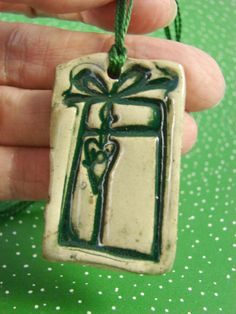 Ceramic Pendant  Christmas Ornament  Handmade Clay by PatsPottery