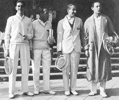 Jacques Brugnon Henri Cochet Rene Lacoste and Jean Borotra in 1927 Sized