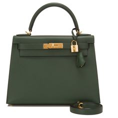 Pre-Owned Hermes Vert Anglais Epsom Sellier Kelly 28cm ($21,450) ❤ liked on Polyvore featuring bags, handbags, purses, green, leather purse, real leather handbags, hand bags, green leather purse and hermes handba