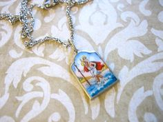 The Pendant measures long x wide and is on a Silver Plate Chain. Lovely colors, enamel is perfect! Vintage Silver, Vintage Jewelry, Saint Christopher, Silver Plate, Enamel, Buy And Sell, Pendant Necklace, Chain, Detail