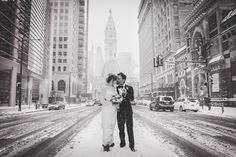 Center City; Broad Street; Winter Wedding; Black and White Photography