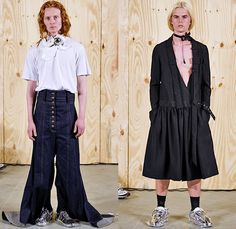 Anne Sofie Madsen 2016 Spring Summer Mens Lookbook Presentation - Copenhagen Fashion Week Denmark CPHFW - Denim Jeans Embroidery 3D Embellishments Adornments Bedazzled Outerwear Trench Coat Overcoat Wide Leg Trousers Palazzo Pants High Slit PVC Necklace Chain Straps Mirrors Asymmetrical Hem Deconstructed Organic Shape Dress O-ring D-ring Flowers Florals Patchwork Hotpants Manskirt Kilt