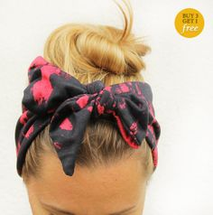 Bow hair tie  Red and black hipster headscarf  by FoxenbergScarves, $15.00
