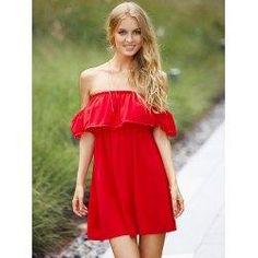 #trendsgal.com - #Trendsgal Off The Shoulder Short Sleeve Flounced Pure Color Dress - AdoreWe.com