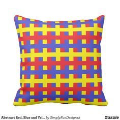 Abstract Red, Blue and Yellow Throw Pillow #pillow #throwpillow #decorative #homedecor #interiordesign