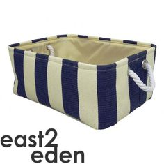 Strong Shallow Rectangular Canvas Stripey Striped Storage Basket Box in 3 Sizes | eBay