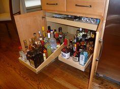 Pull Out Shelves for Your Wet Bar or Liquor Cabinet storage-cabinets Alcohol Storage, Liquor Storage, Diy Home Bar, Bars For Home, Pull Out Shelves, Beverage Center, Home Bar Designs, Living Room Cabinets, Wet Bars