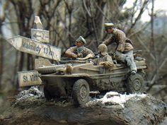 Diorama of the Battle of the Bulge, German Schwimwagen and crew