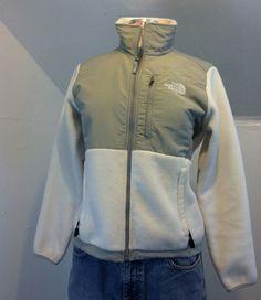 THE NORTH FACE Off-White Gray Fleece Short Jacket Denali Womens S/P #TheNorthFace #DenaliFleece